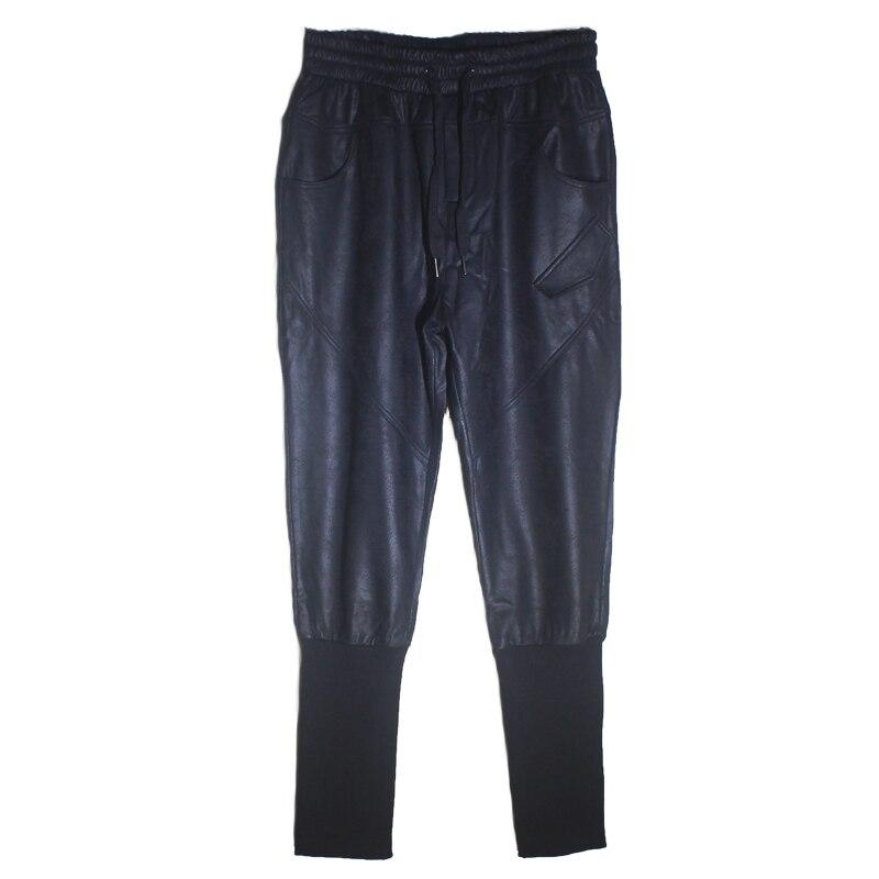 Зима 2018 новые мотоциклетные кожаные брюки мужские корейские версии tide плюс бархатные толстые ноги брюки мужские плотные брюки с заячьими у... - 6