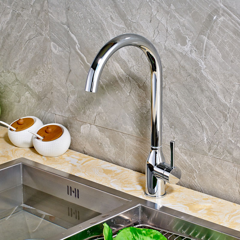 Chrome Finish Deck Mounted Kitchen Sink Faucet with Single Handle One Hole contemporary chrome finish single handle bathroom sink faucet silver