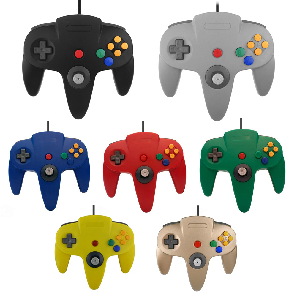 Long Handle Wired Game Controller for N64 Gamepad Joystick for Nintendo for 64
