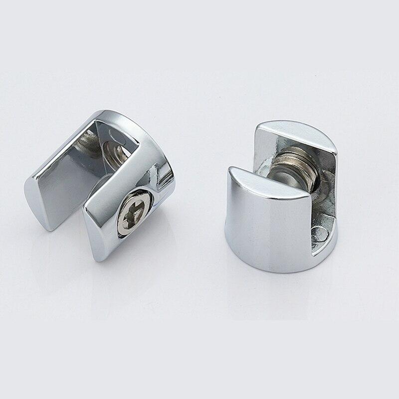 4 шт., цинковый сплав, стекло, зажим, кронштейн хром блестящий Полкодержатель может зажим 8 мм/10 мм/12 мм