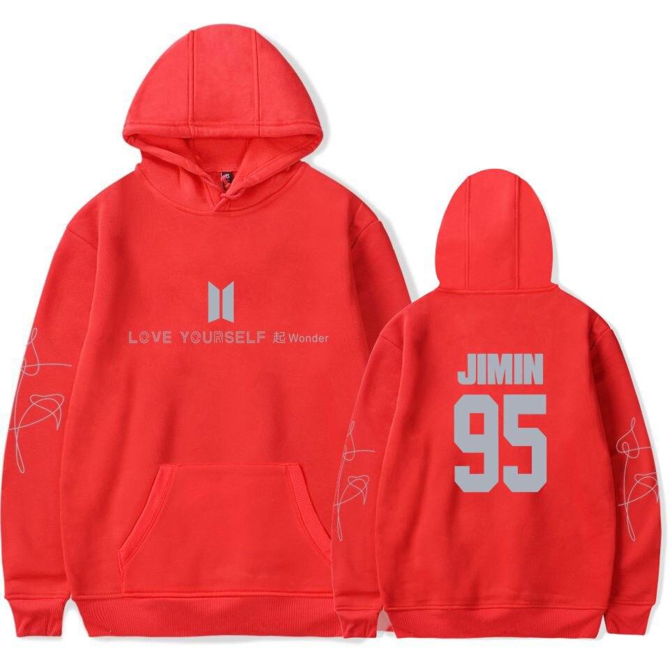 BTS любить себя новый альбом чудо Bangtan Толстовка Для Мальчиков Кофты Хип-хоп популярный идол одежда в красный розовый цвет