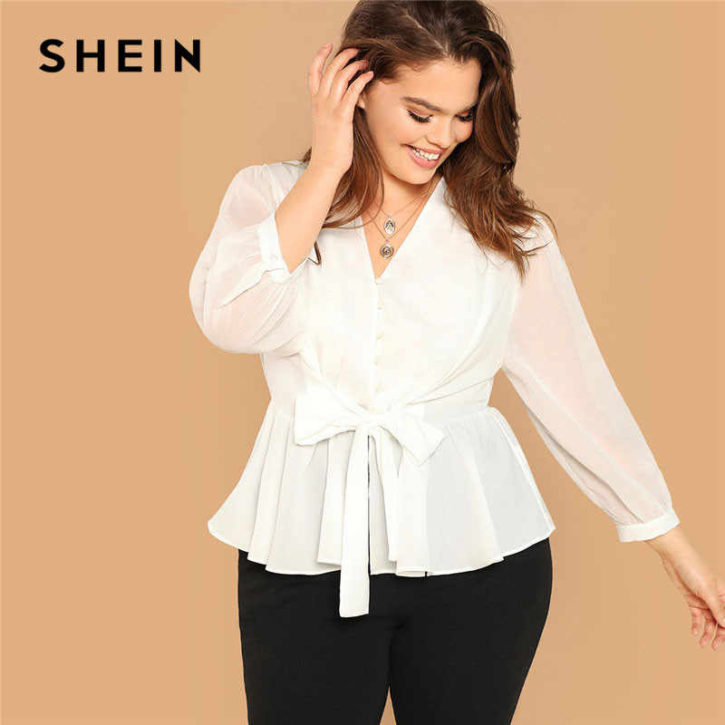 12e7d15ed3 SHEIN White Plus Size Button Front Belted Peplum Ruffle Hem Top Long Sleeve  V Neck Womens
