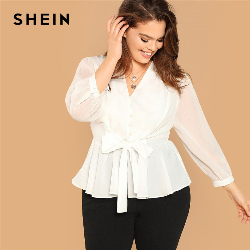 0d89a8b967 SHEIN White Plus Size Button Front Belted Peplum Ruffle Hem Top Long Sleeve V  Neck Womens