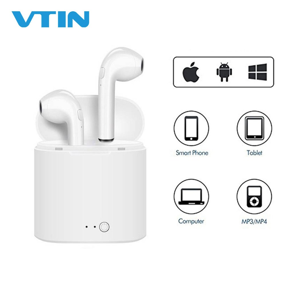 2018 Hot i7 TWS Mini Bluetooth Earbuds Crystal Clear Stereo Sound Wireless Earphones With Mic&Portable Charging Case For iPhone