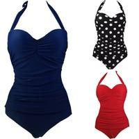 נשים בתוספת גודל בגדי ים בגד ים חתיכה אחת החדש רטרו וינטג הדפסה מרופדת רחצה חליפות וחוף לשחות ללבוש S כדי 3XL