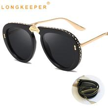 LongKeeper Oversized Folding Sunglasses Women Luxury Crystal Metal Brand Designer Men Male Shades UV400 Oculos