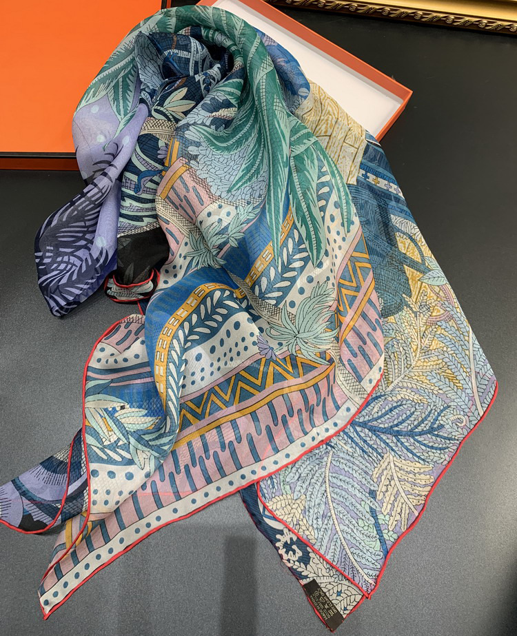 Summer Dream Chiffon Pure Silk Blended Scarf Women Large Square 140*140cm Beach Party Shawls Wraps