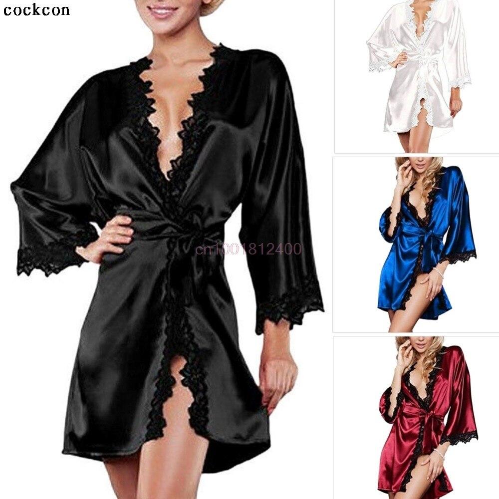 Sexy Women Satin Lingerie Robe Dress Sleepwear Nightwear Underwear G String