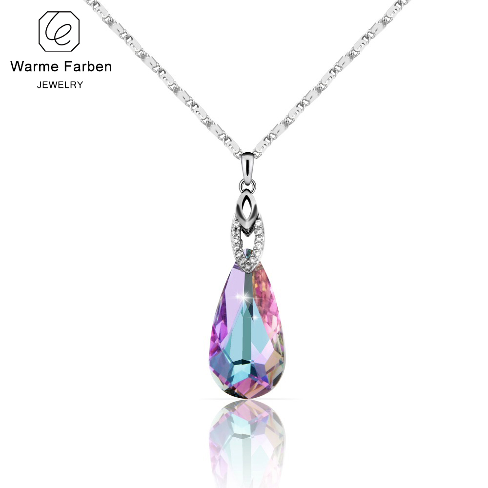 2019 Summer Fine Jewelry Necklace for Women Water Drop Shaped Swarovski Crystal Pendant Necklace Birthday's Gift Collares-in Necklaces from Jewelry & Accessories