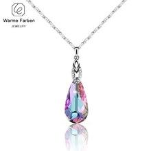 Warme Farben Feine Schmuck Halskette für Frauen Wasser Tropfen Förmigen Anhänger Halskette Kristall von Swarovski Geburtstag Geschenk Collares