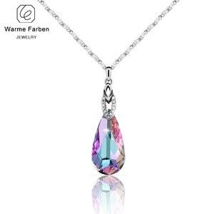 Image 1 - Warme Farben Fine Jewelry naszyjnik dla kobiet naszyjnik w kształcie kropli wody kryształ z Swarovski prezent urodzinowy Collares