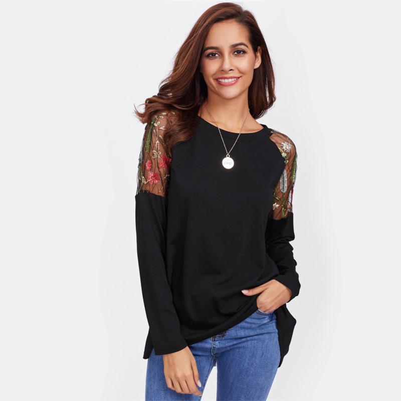 SHEIN Koronki Ramię Łuk Pokrywają Powrotem Tee Długim Rękawem T koszula Kobiety Czarny 2017 New Moda Jesień Kobiet Seksowna Koszulka 12