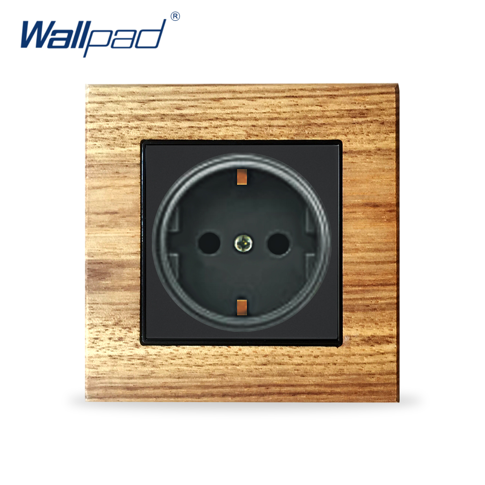 EU German 2 Pin Socket Schuko Wallpad Luxury Wooden Panel Electric Wall Power Socket Electrical Outlets For Home eu 2 pin german socket wallpad luxury satin metal panel eu 16a electric wall power socket electrical outlets for home schuko