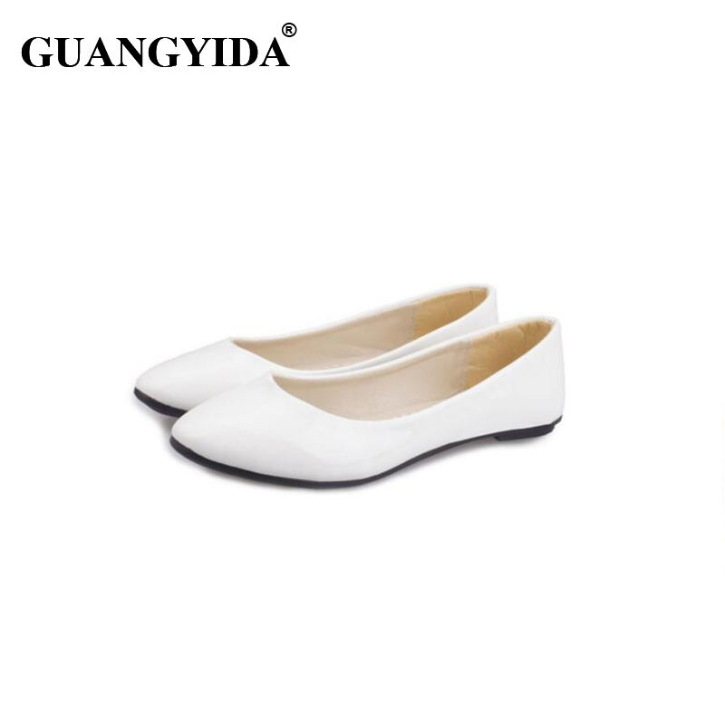 2017 New Fashion Spring Summer Boat Shoes Women Candy Color Flats Pointed Toe Slip-on Flat Fashion Casual Plus Size PU Shoes new 2016 spring autumn summer fashion casual flat with shoes breathable pointed toe solid high quality shoes plus size 36 40