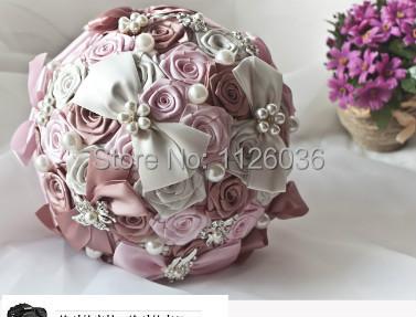 Fantástico Artificial Seda Rosa Bolas de Flores Ramo de Novia Ramo de la Boda Accesorios de la Perla de Cristal de Novia Espera flor