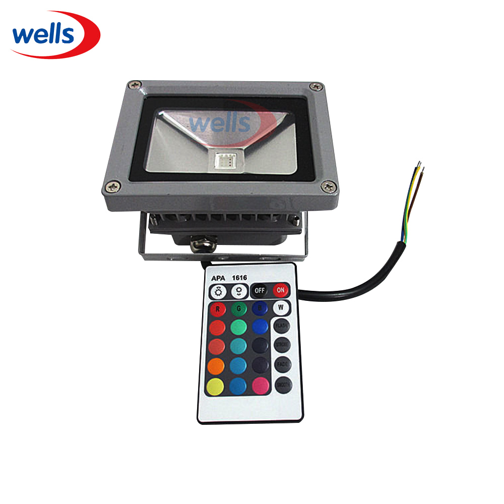10W RGB Waterproof LED Outdoor Flood Light Multicolor + 24key IR Remote 85-265V 30% off 2pcs ultrathin led flood light 50w black ac85 265v waterproof ip66 floodlight spotlight outdoor lighting free shipping