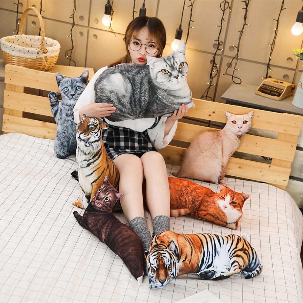 1pc 50/70cm Simulation 3D Plush Cat & Tiger Pillows Soft Stuffed Animals Cushion Sofa Decor Cartoon Plush Toys For Children Girl