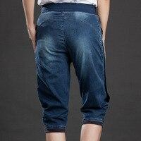 2018 New Vintage Capris Jeans Woman Stretch Knee Length Denim Shorts Jeans Pants Women High Waist Trousers Women Plus Size 5XL