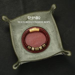 Image 3 - REAMOR 8mm Rode Gevlochten Volnerfleer mannen Armband rvs Shining Gouden Kralen Charm Armbanden Bangle sieraden