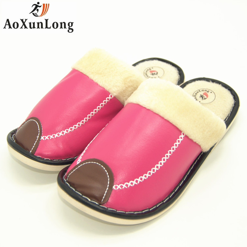 Winter Slippers Women Leather Warm Plush Home Slippers Indoor Women Shoes Red Pink yellow Shoes Woman Slippers Size 41 chinelo men winter soft slippers plush male home shoes indoor man warm slippers shoes