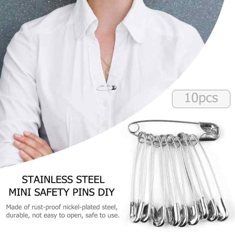 Stainless Steel Mini Keselamatan Pins Diy Tahan Karat Gesper Pin Logam Bros Lencana Jarum Jahit Merajut Cross Stitch Marker Tag