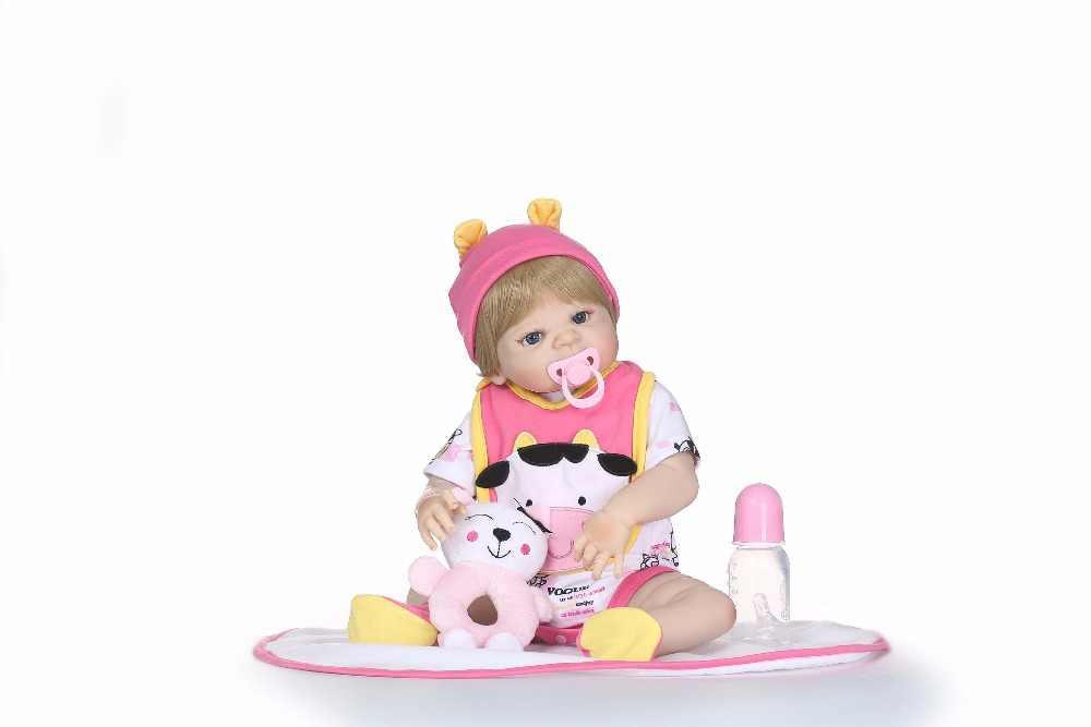 NPK 55 см Bebes Возрожденный силикон винил возрождается Малыша Кукла, игрушки для девочек Детский подарок играть дома игрушки куклы Boneca