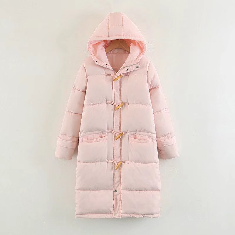 Manteau Femelle Nouvelle Coton Coréenne Sœur Corne Rembourré Apricot chens Bouton Veste Mode Hiver black 2018 Pain pink Femmes Long w8Eq1