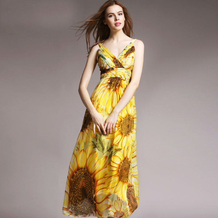 Women Silk dress Long Beach dress 100 Natural Silk Print dress summer Maxi dress Sleeveless