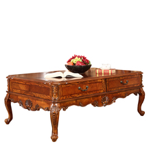 Solid wood furniture American Continental retro living room coffee table tea carved drawer 0903B teasideend