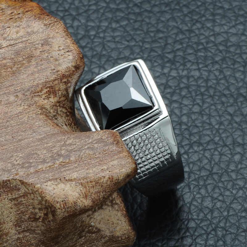 D & Z Punk Square Cubic Zirconia Cincin untuk Pria Stainless Steel Perak Kebebasan Laki-laki Heroik Cincin Pria Unik perhiasan Hadiah