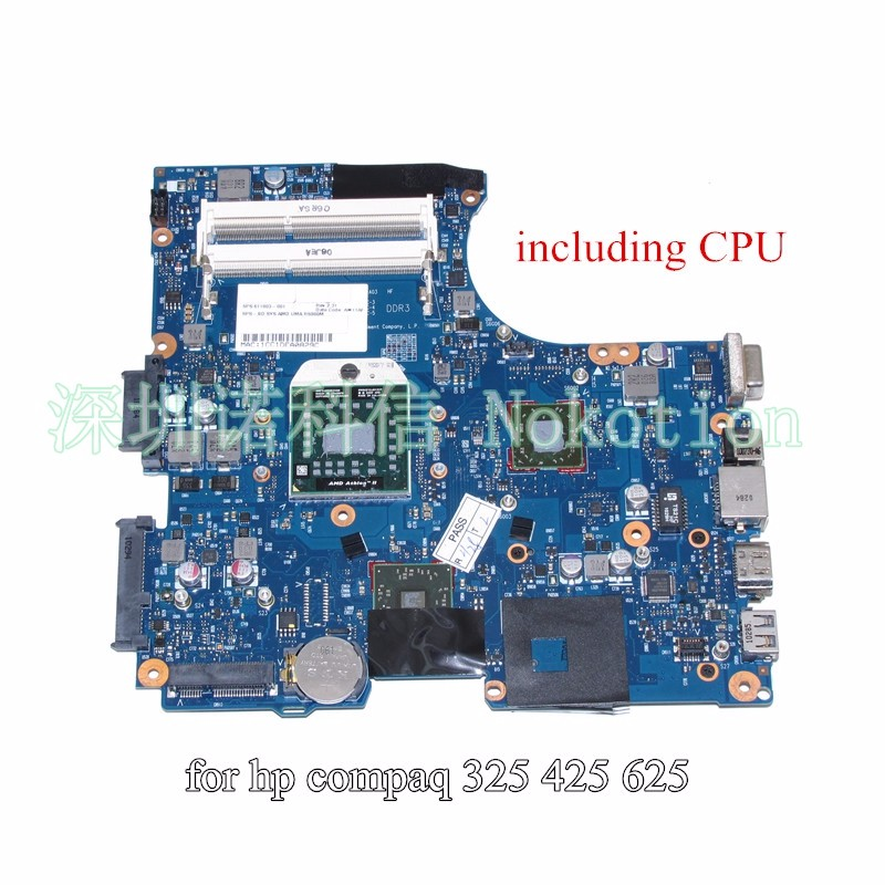 NOKOTION 611803-001 LAPTOP MOTHERBOARD for HP 625 325 425 CQ325 CQ625 CQ425 RS880M DDR3 Socket S1 free cpu 443898 001 main board for hp compaq 6515b 6715b laptop motherboard socket s1 ddr2 with free cpu