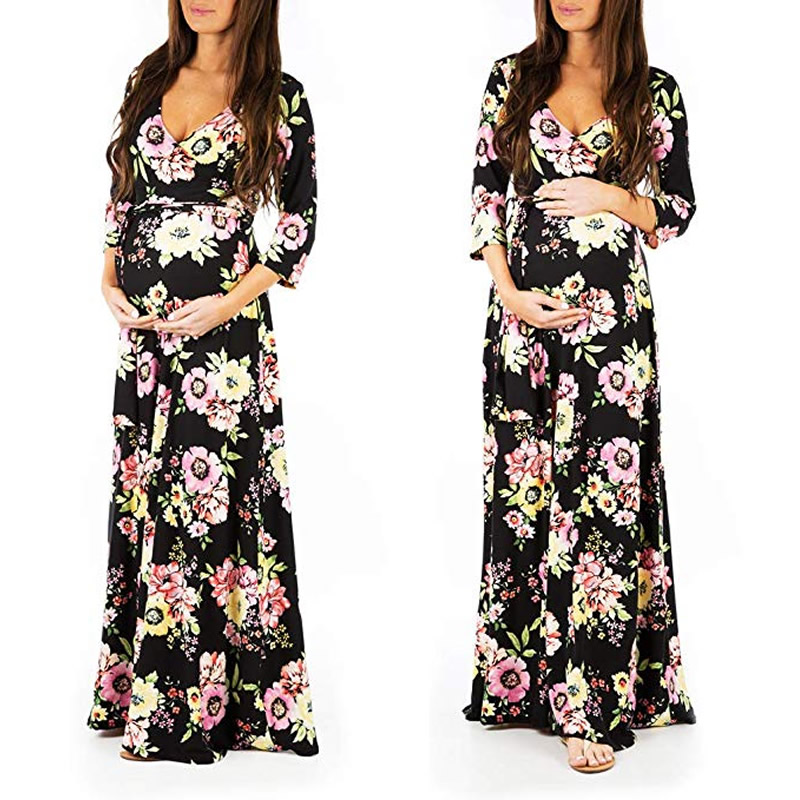 Womens Wraped Ruched Maternity Dress Flower Printed Comfortable V-Neck Adjustable elegant Gown Dress pregnancy woman clothingWomens Wraped Ruched Maternity Dress Flower Printed Comfortable V-Neck Adjustable elegant Gown Dress pregnancy woman clothing