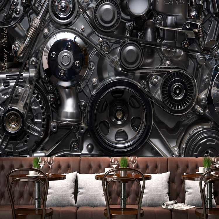 Free shipping industrial machinery metal gear 3d wall for Industrial paint for metal