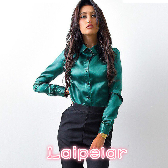 c6176599462 2018 Laipelar Women high quality silk satin blouse button lapel long sleeve  shirts ladies office work elegant female Tops