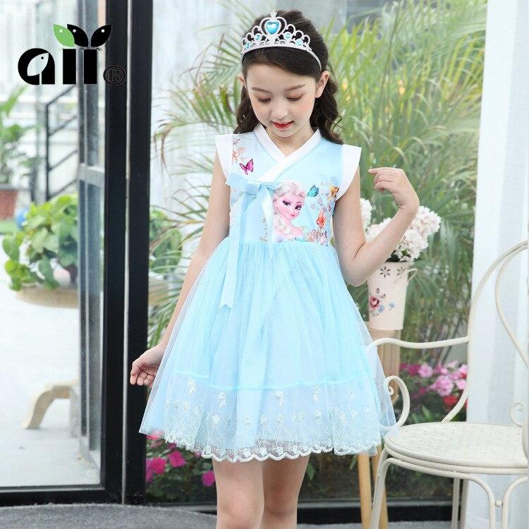4396e39b15afc Kids Girls Princess Frozen Elsa Dress Children Princess Dresses Cosplay  Costume Party Chinese Style Dress Summer Dress 3-7T