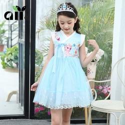 Kids Girls Princess Frozen Elsa Dress Children Princess Dresses Cosplay Costume Party Chinese Style Dress Summer Dress 3-7T