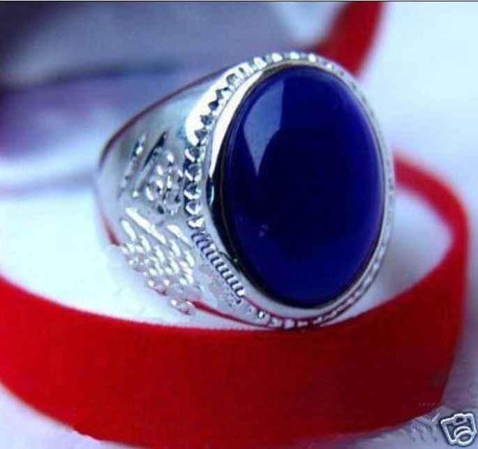 Wonderful สีน้ำเงินหยกแหวนลูกปัด US #8,9, 10,11