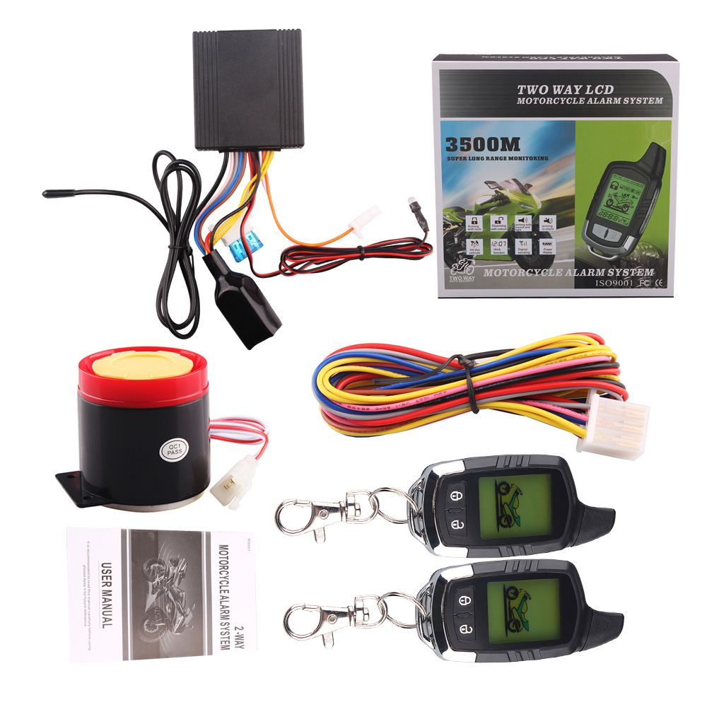 Two Way Motorcycle Alarm System Anti-theft Remote Control Engine Start LCD Transmitter Motorcycle Security System