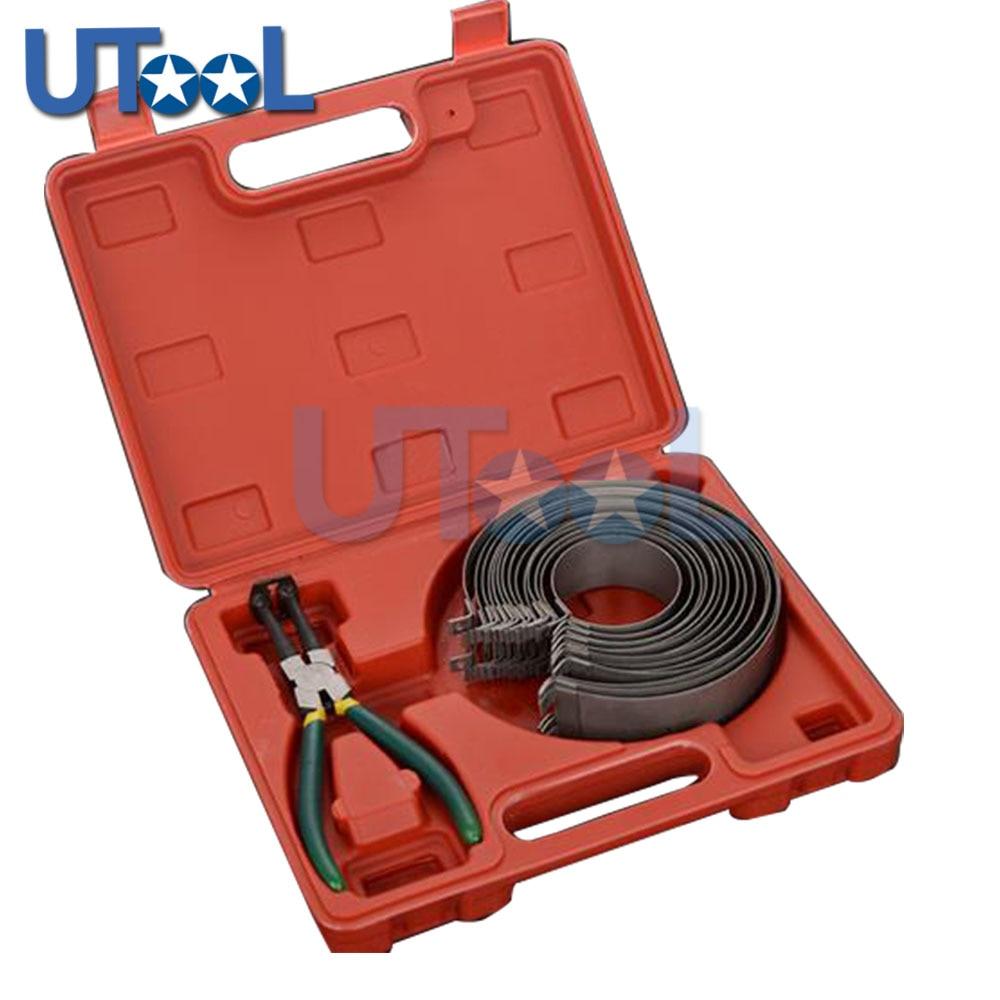 Piston Ring Compressor Cylinder Installer Ratchet Pliers 13pcs bands Tool Set 62 145mm