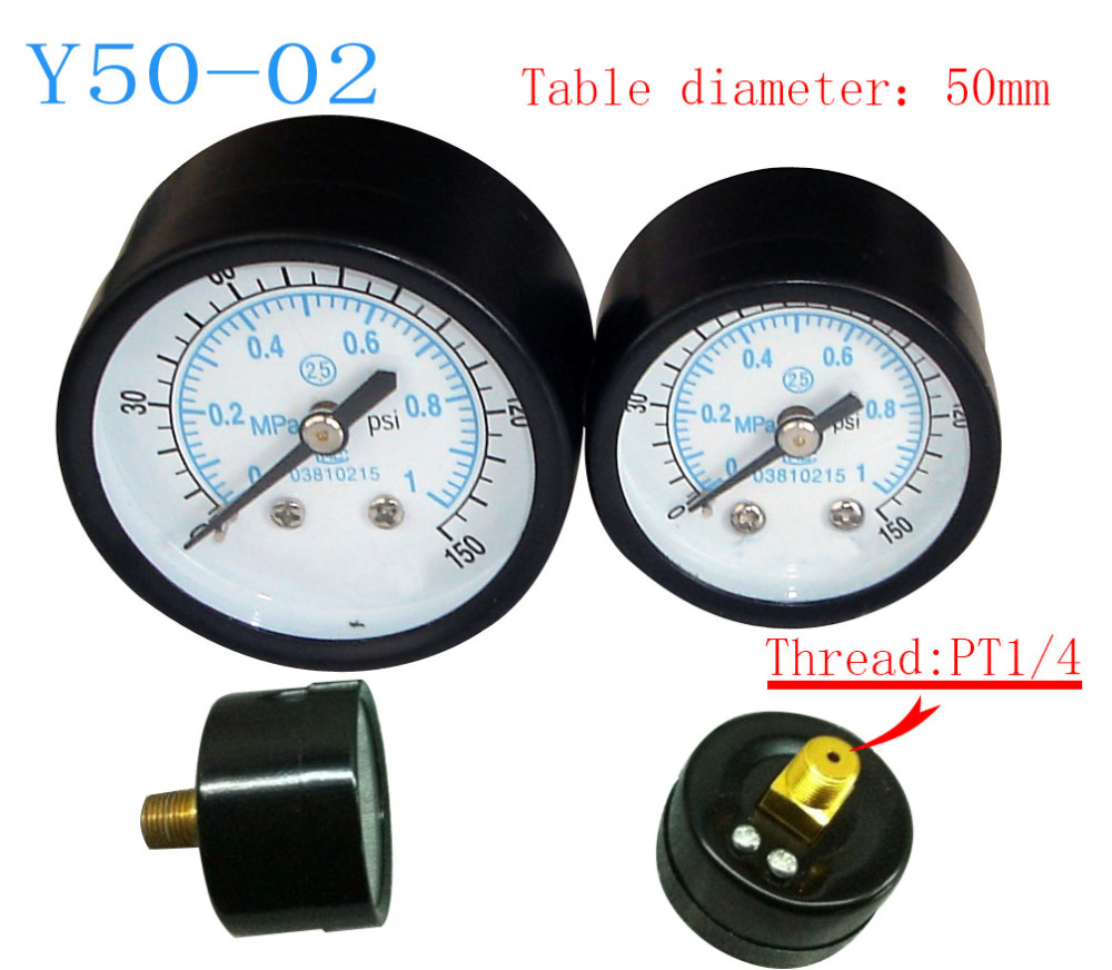 Free Shipping Small pressure gauge Y50-02 axial pressure gauge, thread 1/4, measuring range 1MPa  цены