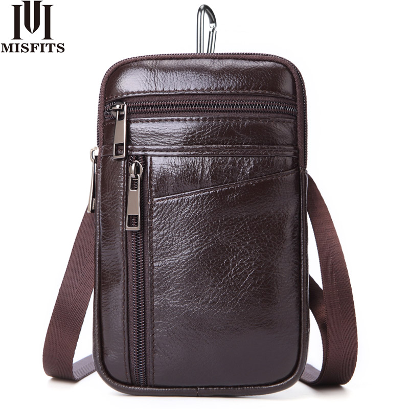 MISFITS Small Shoulder Bag For Men 100% Genuine Leather Messenger Bag Vertical Waist Pack For Cell Phone Travel Crossbody Bags