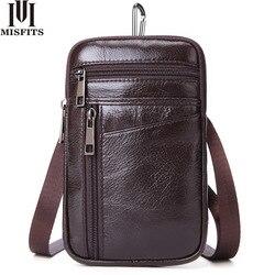 Misfits pequena bolsa de ombro para homens 100% couro genuíno saco do mensageiro vertical pacote cintura para o telefone celular viagem sacos crossbody