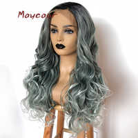 Ombre Long Wavy Synthetic Lace Front Wig Heat Resistant Ombre Hair Wigs For Women 180 Density