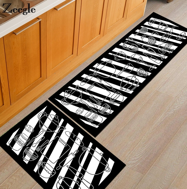 Zeegle Cooking Utensil Printed Kitchen Rugs Anti Slip Coffee Table