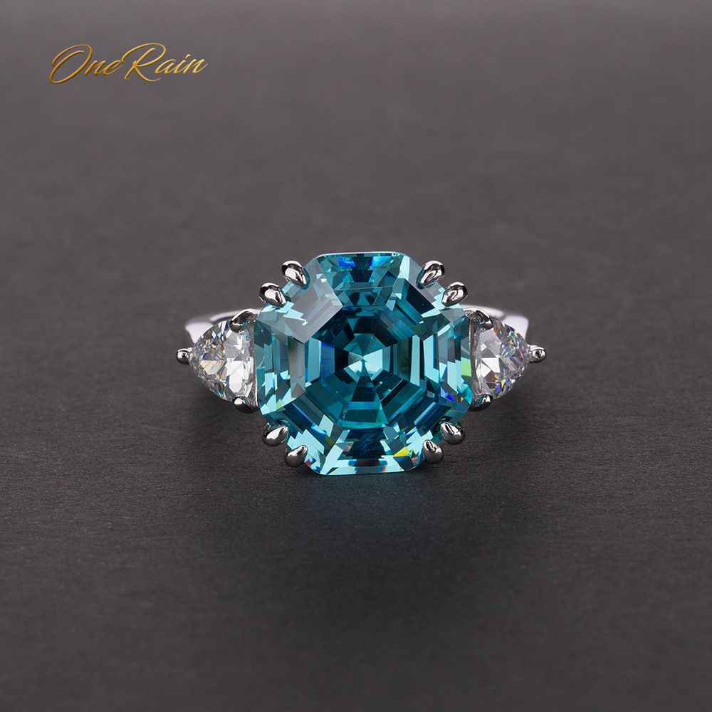 OneRain 100% 925 Sterling Silver Created Moissanite Aqumarine Gemstone Wedding Engagement White Gold Ring Jewelry Gift Wholesale