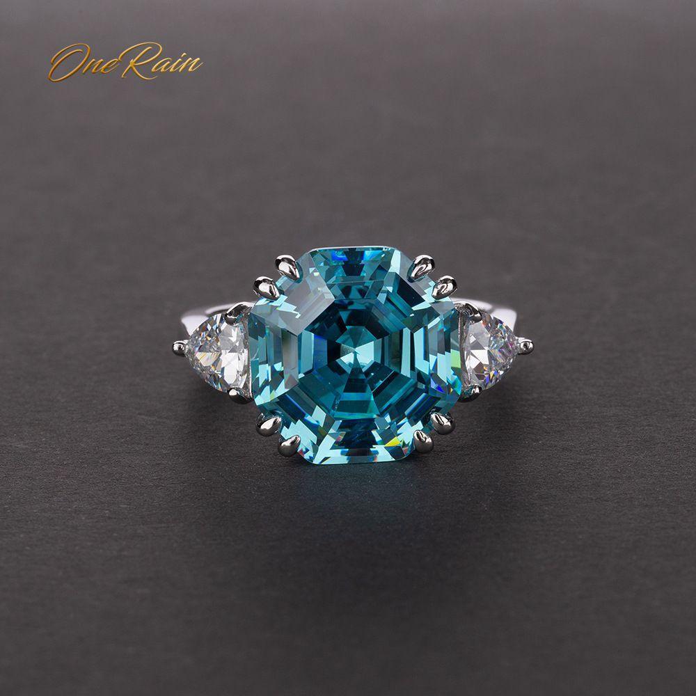 OneRain 100% 925 Sterling Silver Created Moissanite Aqumarine Gemstone Wedding Engagement White Gold Ring Jewelry Gift Wholesale