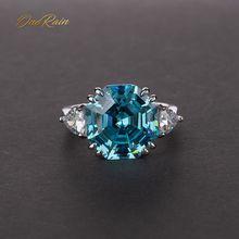 OneRain 100% 925 Sterling Silver utworzono Moissanite Aqumarine kamień ślub pierścionek z białego złota biżuteria prezent hurtownie