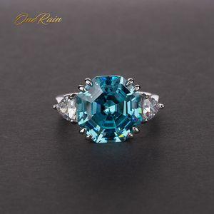 Image 1 - OneRain 100% 925 Sterling Silver utworzono Moissanite Aqumarine kamień ślub pierścionek z białego złota biżuteria prezent hurtownie