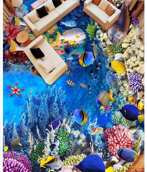 ФОТО Custom photo Waterproof floor wallpaper Sea world fish corals 3d mural PVC wallpaper self-adhesion floor wallpaer