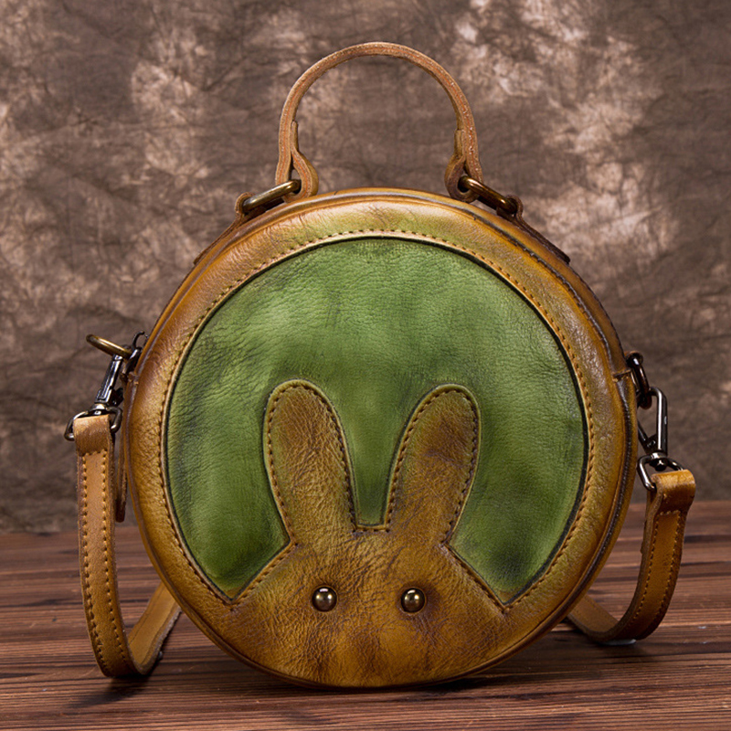 Genuine Leather Women Top Handle Bag Rabbit Pattern Tote Handbag Crossbody Small Girls Cute Shoulder Messenger Circular BagsGenuine Leather Women Top Handle Bag Rabbit Pattern Tote Handbag Crossbody Small Girls Cute Shoulder Messenger Circular Bags